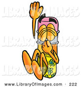 Clip Art of an Outdoorsy Pencil Mascot Cartoon Character Plugging His Nose While Jumping into Water by Toons4Biz