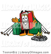 Clip Art of an Outdoorsy Red Book Mascot Cartoon Character Camping with a Tent and Fire by Toons4Biz