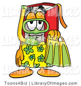Clip Art of an Outdoorsy Red Book Mascot Cartoon Character in Green and Yellow Snorkel Gear by Toons4Biz