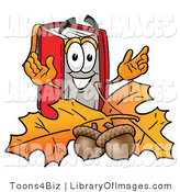 Clip Art of an Outdoorsy Red Book Mascot Cartoon Character with Autumn Leaves and Acorns in the Fall by Toons4Biz