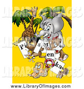 Clip Art of Animals Holding Letter Signs over Yellow by Dero