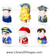 Clip Art of Avatar People; Sailor, Spartan, Teacher, Pilot, Santa, and a Superhero by AtStockIllustration