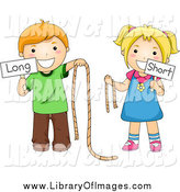 Clip Art of Caucasian School Kids Holding Long and Short Ropes and Signs by BNP Design Studio