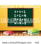 Clip Art of Chalk and Three School Books in Front of a Green Chalkboard with Solved Addition Written on It in a Math Class Room by Elaineitalia