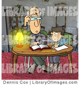 Clip Art of Confused Grandpa Helping a Kid with Homework by Djart