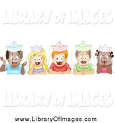 Clip Art of Cute Happy School Children Wearing Paper Hats by BNP Design Studio