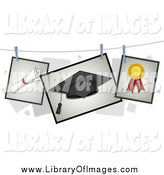 February 3rd, 2014: Clip Art of Diploma, Graduation Cap and Ribbon Pictures on a Line by BNP Design Studio