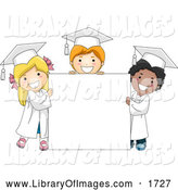 Clip Art of Diverse Graduate Kids Standing Around a Blank Sign by BNP Design Studio