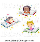 Clip Art of Diverse School Children Resting on Books by BNP Design Studio