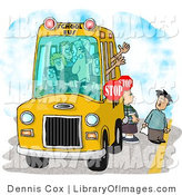 Clip Art of Elementary School Children Waiting for a Bus Driver to Signal Them the Ok to Cross the Street by Djart