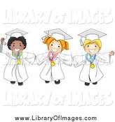 February 7th, 2014: Clip Art of Excited Graduate Kids Holding Hands and Wearing Medals by BNP Design Studio
