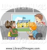 September 3rd, 2014: Clip Art of Excited Kids Viewing a School from a Bus Window by BNP Design Studio