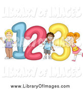 Clip Art of Happy Diverse School Children with Giant 123 Numbers by BNP Design Studio