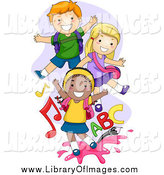 Clip Art of Happy Playful School Kids by BNP Design Studio