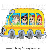 Clip Art of Happy School Children and Driver on a Bus by Visekart