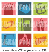 Clip Art of Icons of Pencils, Sharpener, Bag, Eraser, Notebook, Pen, Paper, and Bag by NL Shop