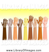 Clip Art of Raised Diverse Hands over Yellow by Prawny