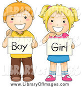 Clip Art of Red Haired and Blond White School Children Holding Boy and Girl Gender Signs by BNP Design Studio