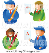 Clip Art of School Boys and Girls Holding Pencils and Report Cards by Prawny