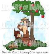 Clip Art of Sir Isaac Newton Sitting Under an Apple Tree, Getting Hit on the Head with an Apple by Djart
