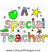 Clip Art of Sketched Colorful Letters Spelling a Special Teacher by Prawny