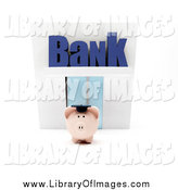 Clip Art of Text over a 3d Piggy Bank by