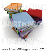 Clip Art of Three Stacks of Colorful 3d School Textbooks by Frank Boston