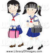 Clip Art of Two School Girls in Uniforms by Rosie Piter