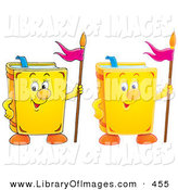 Clip Art of Two Smiling Yellow School Books with Flags by Alex Bannykh