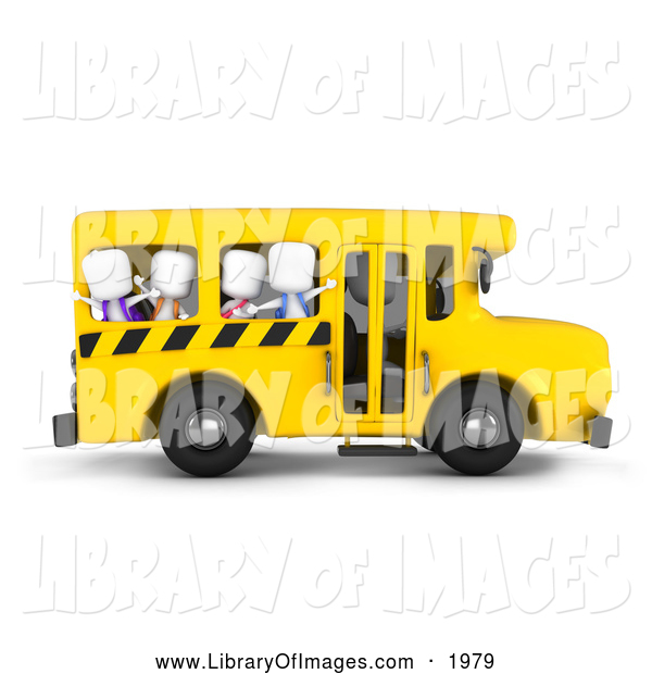 Clip Art of 3d Kids Waving on a School Bus