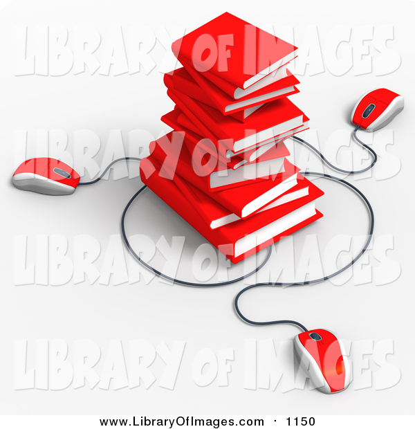 Clip Art of 3d Red Computer Mice Connected to a Stack of Red Text Books