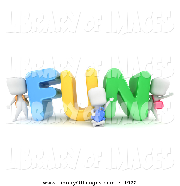 Clip Art of 3d White School Kids with FUN