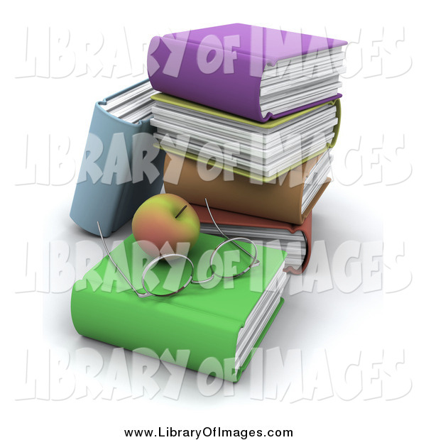 Clip Art of a 3d Apple with Glasses with a Stack of Text Books