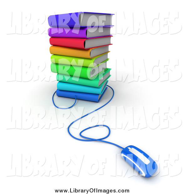 Clip Art of a 3d Blue Computer Mouse Connected to a Stack of Colorful Books