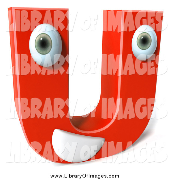 Clip Art of a 3d Happy Red Character Letter U