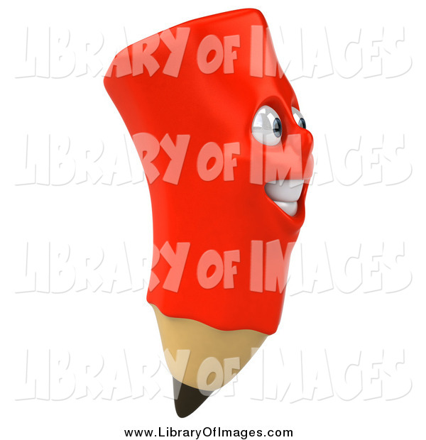 Clip Art of a 3d Happy Red Pencil Character Facing Right