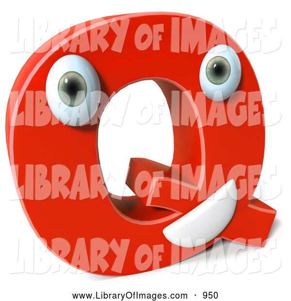 Clip Art of a 3d Red Letter Q Character
