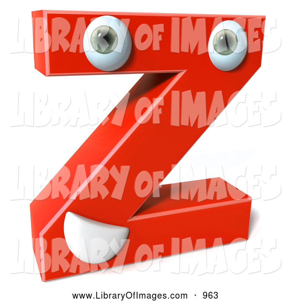 Clip Art of a 3d Red Letter Z with a Face