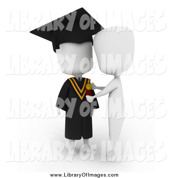 Clip Art of a 3d White College Graduate Receiving a Medal