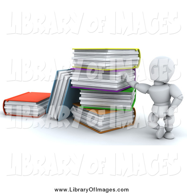 Clip Art of a 3d White Man Leaning Against a Giant Stack of Colorful Text Books