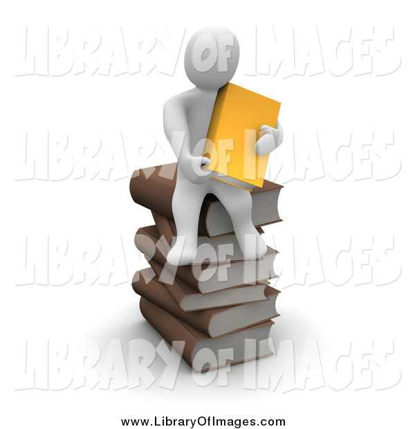 Clip Art of a 3d White Man on a Pile of Books