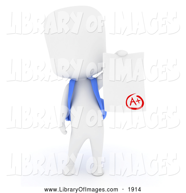 Clip Art of a 3d White School Boy Holding a Report Card