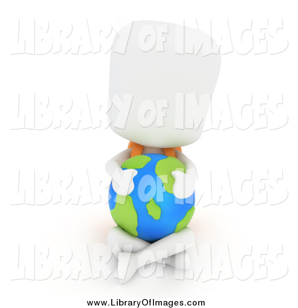 Clip Art of a 3d White School Boy Hugging a Globe