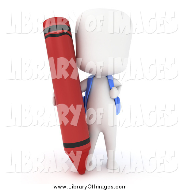 Clip Art of a 3d White School Boy with a Giant Red Crayon