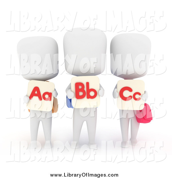 Clip Art of a 3d White School Kids with Flash Cards