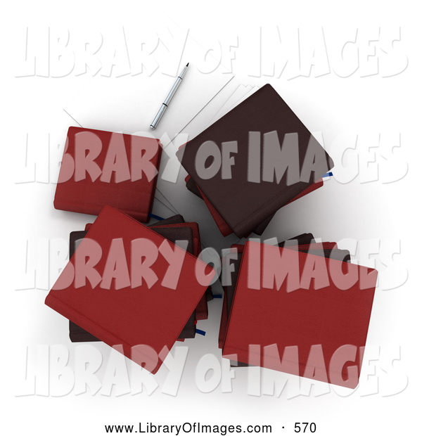 Clip Art of a Aerial View of Stacks of Red Office Books or Binders Resting by Paper and a Pen