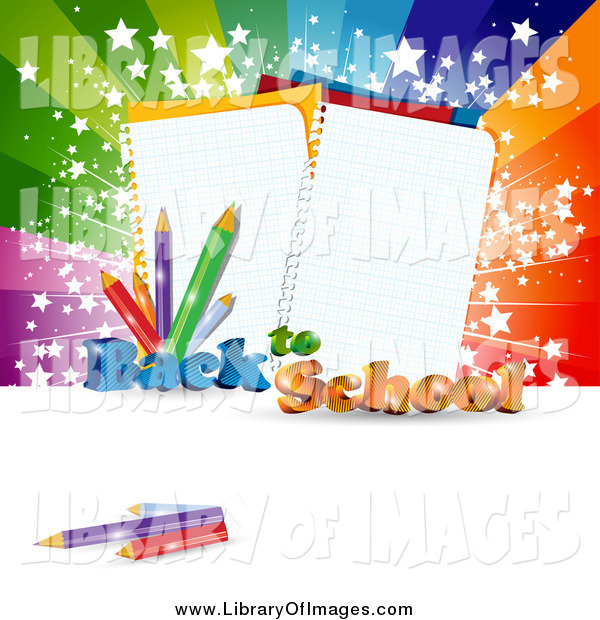 Clip Art of a Back to School Background with Ruled Notebook Paper and Pencils Against a Burst