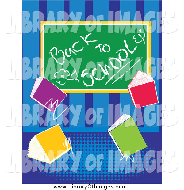 Clip Art of a Back to School Chalk Board with Text Books over Blue Stripes