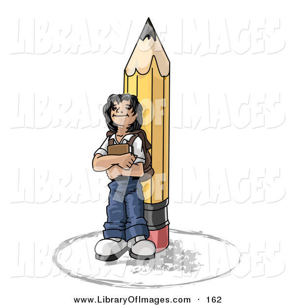 Clip Art of a Back to School Girl Elementary School Student Standing by a Giant Yellow Pencil, Wearing a Backpack and Holding a Book Clipart Illustration