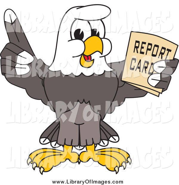 Clip Art of a Bald Eagle Holding a Report Card
